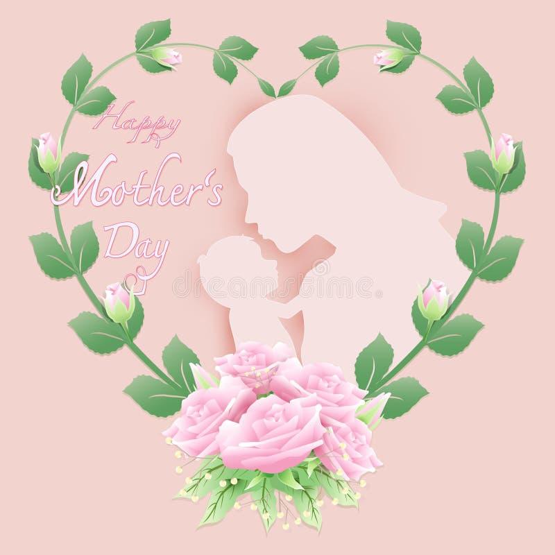 Madre y bebé con día feliz del ` s de la madre en el arte de papel rosado b libre illustration