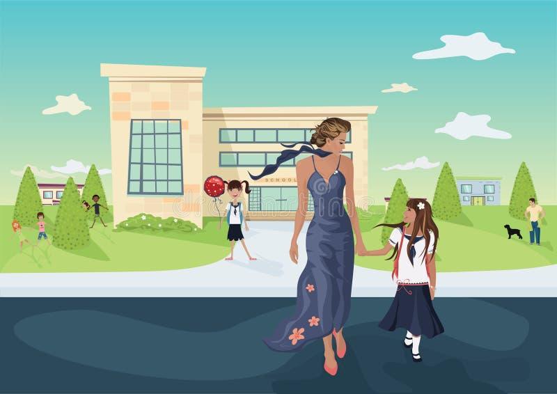 Madre y la hija delante de una escuela stock de ilustración