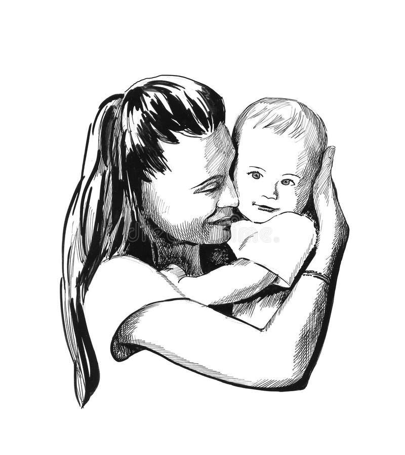 Madre y niño   stock de ilustración