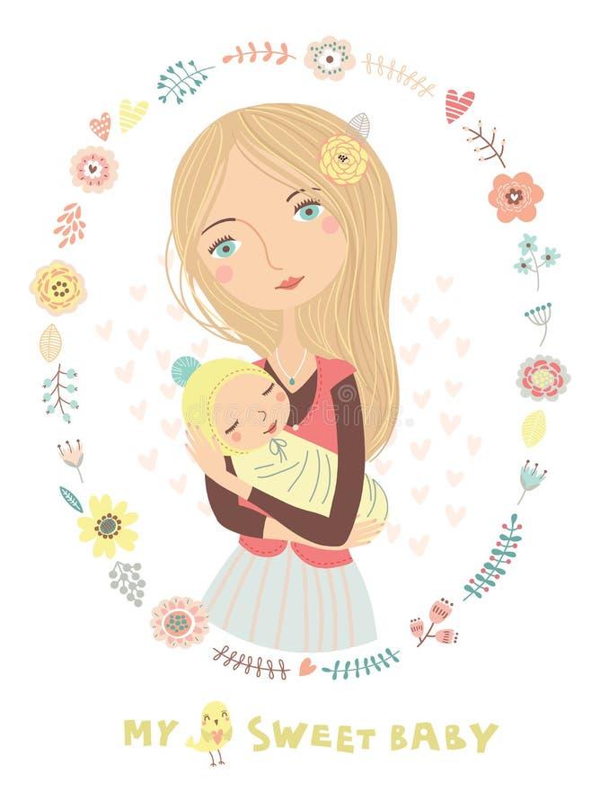 Madre y niño, amor maternal ilustración del vector