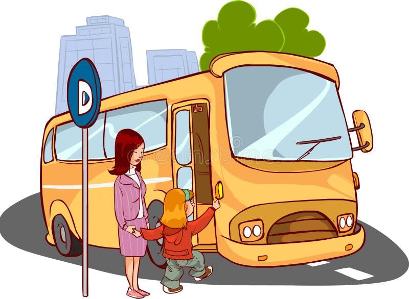 Madre y niño en el autobús ilustración del vector