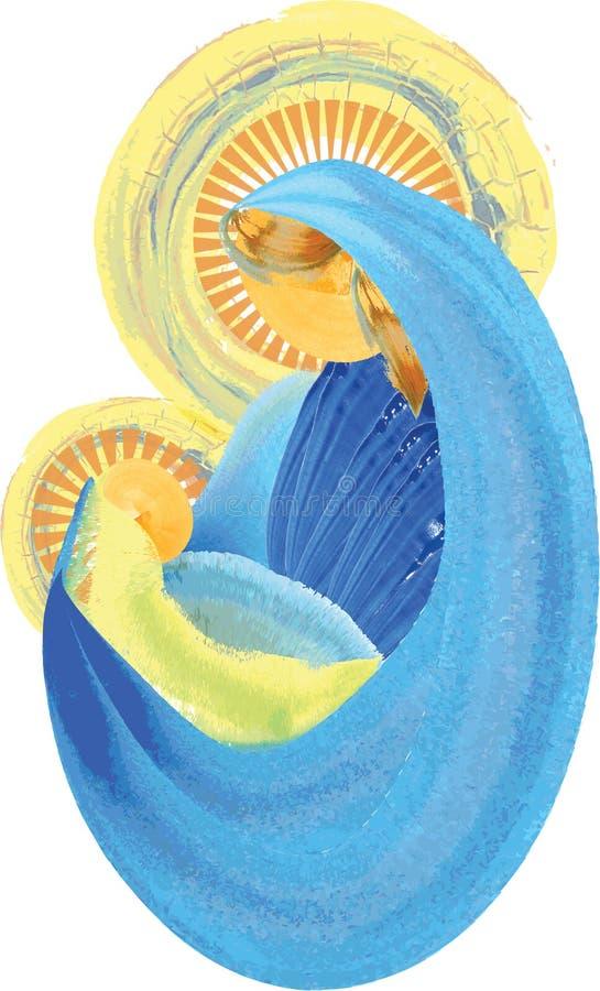 Madre y niño, Virgen María bendecida con el famil santo de Jesús del bebé stock de ilustración