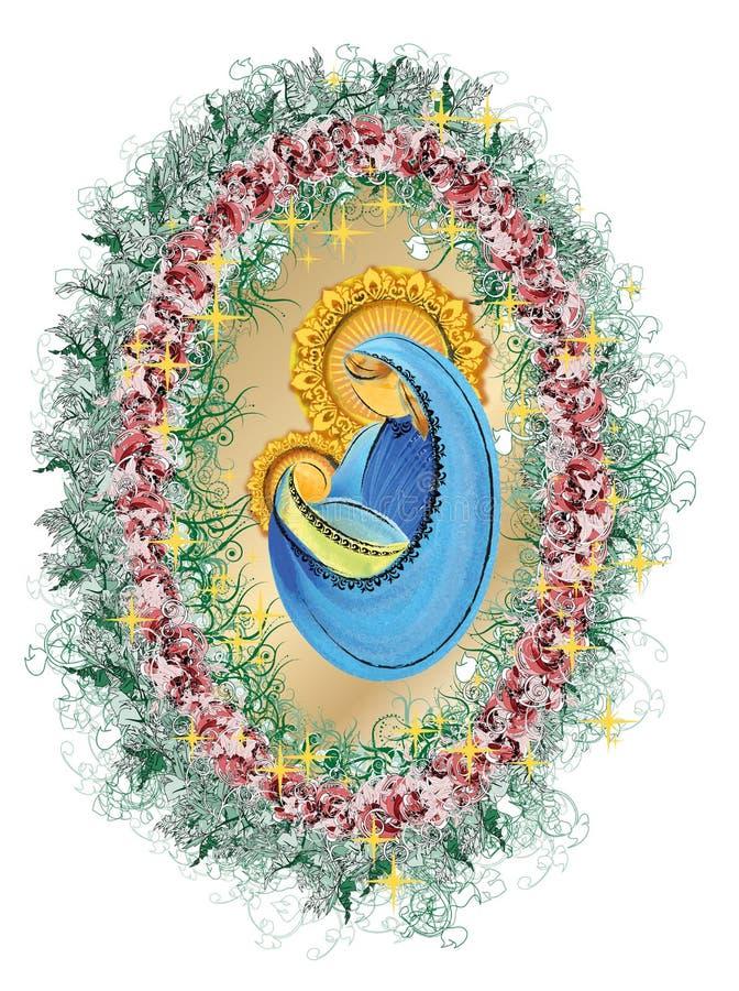 Madre y niño, Virgen María bendecida con la familia santa de Jesús del bebé ilustración del vector
