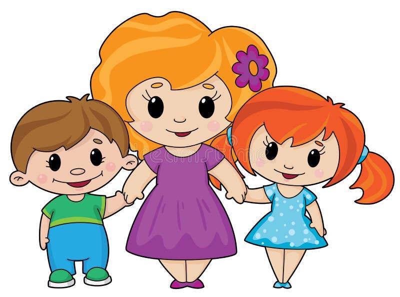 Madre y niños stock de ilustración