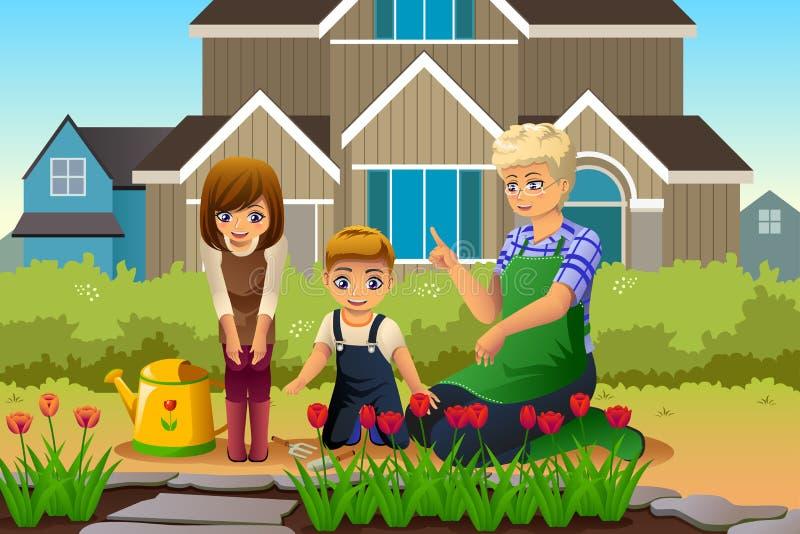 Madre y niños que cultivan un huerto durante estación de primavera ilustración del vector