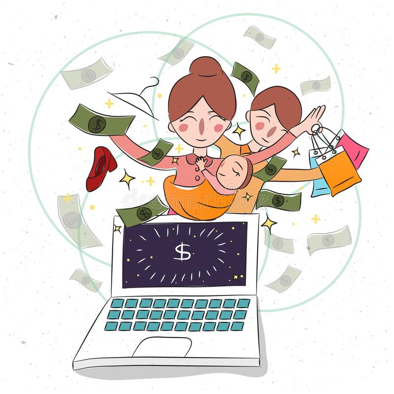 Madre y su bebé childern en el ordenador portátil Mujer de negocios que trabaja del dólar de ganancia casero en línea libre illustration