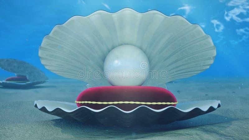 Madreperla subacquee Conchiglia subacquea con l'interno della perla ed il cuscino rosso del velluto Ostriche e perle sul illustrazione vettoriale