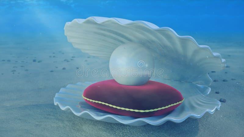 Madreperla subacquee Conchiglia subacquea con l'interno della perla ed il cuscino rosso del velluto Ostriche e perle sul illustrazione di stock