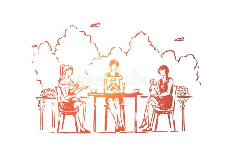 Madres jovenes con los niños que se sientan en café, mujeres anónimas con los niños que beben el café, cuidando a niños ilustración del vector