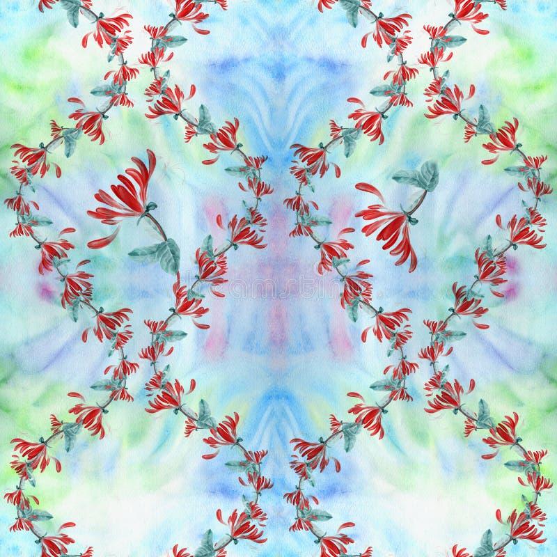 Madressilva - plantas medicinais, da perfumaria e do cosmético watercolor Teste padrão sem emenda wallpaper Flores e folhas ilustração stock