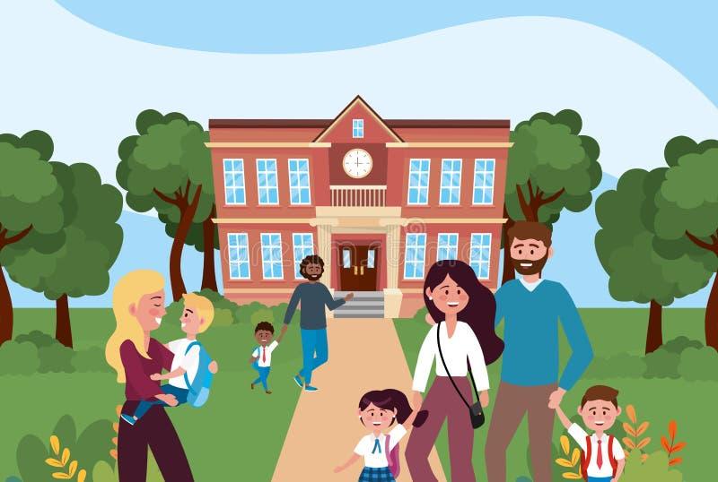 Madri e padre con i loro ragazzi e studentesse nella scuola royalty illustrazione gratis