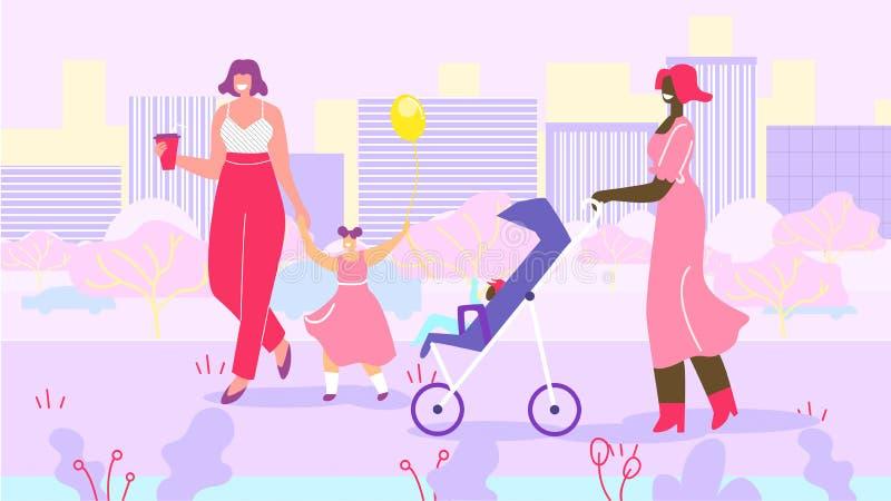 Madri felici con i bambini sulla passeggiata in parco urbano royalty illustrazione gratis