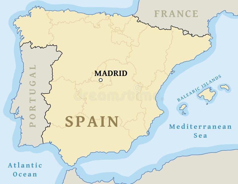 Madrid ?versiktsl?ge royaltyfri illustrationer