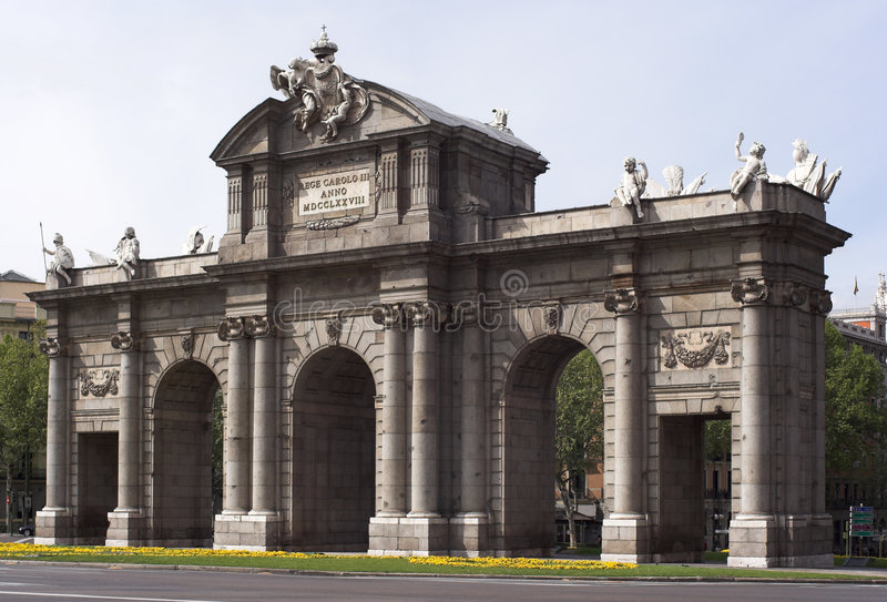 Madrid 18th century Puerta de Alcala stock image