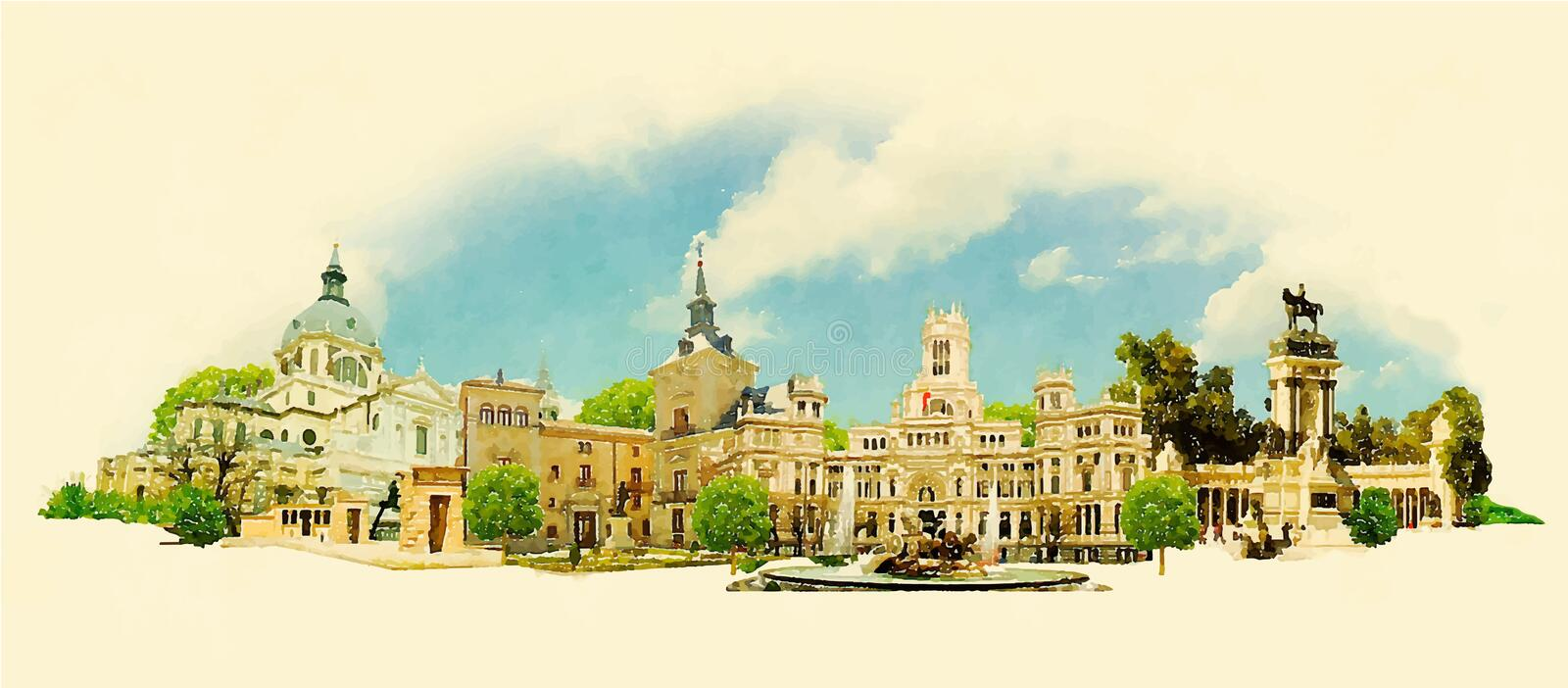 madrid stock illustrationer