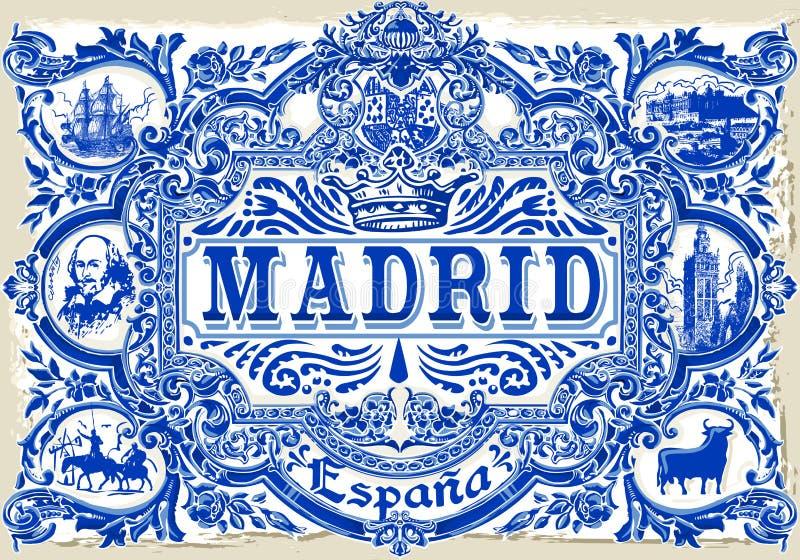 Madrid Azulejos 01 Vintage 2D. Detailed Traditional Painted Tin Glazed Ceramic Tilework Azulejos Vintage Spanish Tiles Vector Illustration Madrid Spain stock illustration