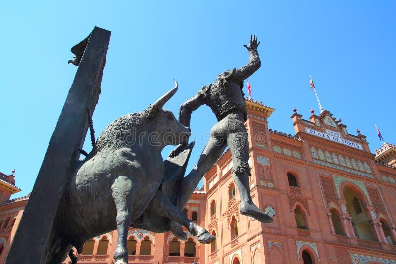 Madrid bullring Las Ventas Plaza Monumental. With toreador statue stock image