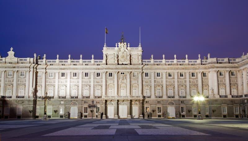 Madrid - East Facade Of Palacio Real In Dask Royalty Free Stock Photos