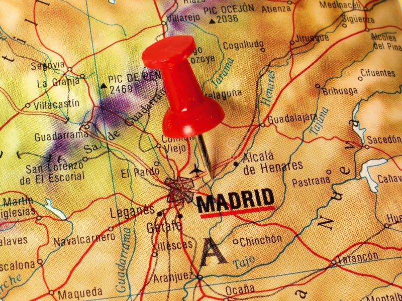 Madrid em um mapa imagem de stock royalty free