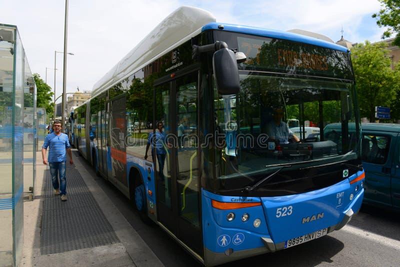 Madrid EMT urban bus in Madrid, Spain. Madrid EMT Empresa Municipal de Transportes de Madrid on Paseo de Recoletos in Madrid, Spain stock images