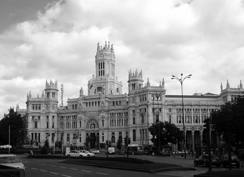 Madrid en noir et blanc photo libre de droits