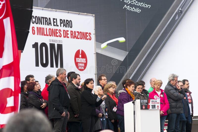 Discursos de la protesta en el solenoide Madrid. fotos de archivo