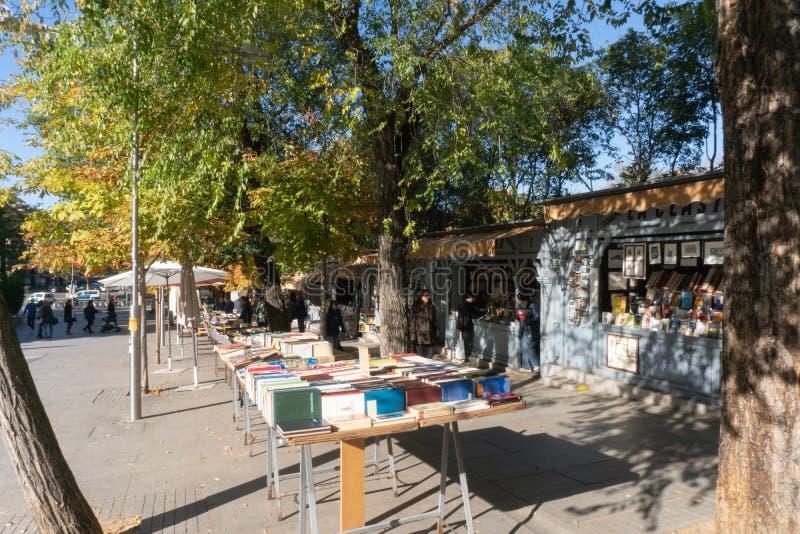 Madrid, España - noviembre 12,2017: Libros en venta en un fin de semana en el parque Madrid, España de Retiro foto de archivo