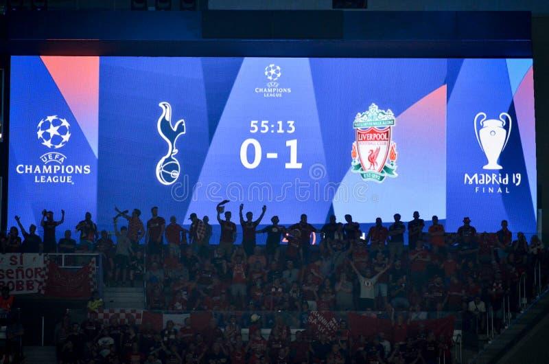 Madrid, Espagne - 1ER MAI 2019 : Le tableau indicateur en faveur de Liverpool pendant le match final 2019 de Ligue des Champions  photographie stock