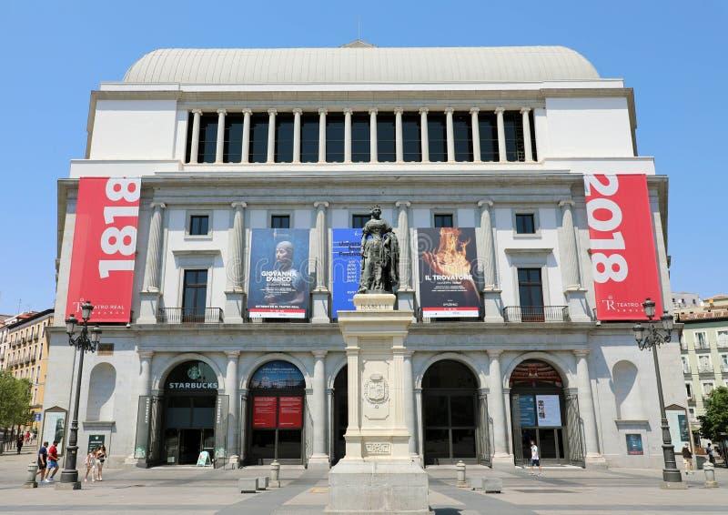 MADRID, ESPAGNE - 2 JUILLET 2019 : Le théâtre royal de Teatro Real est un théatre de l'opéra important situé à Madrid photographie stock libre de droits
