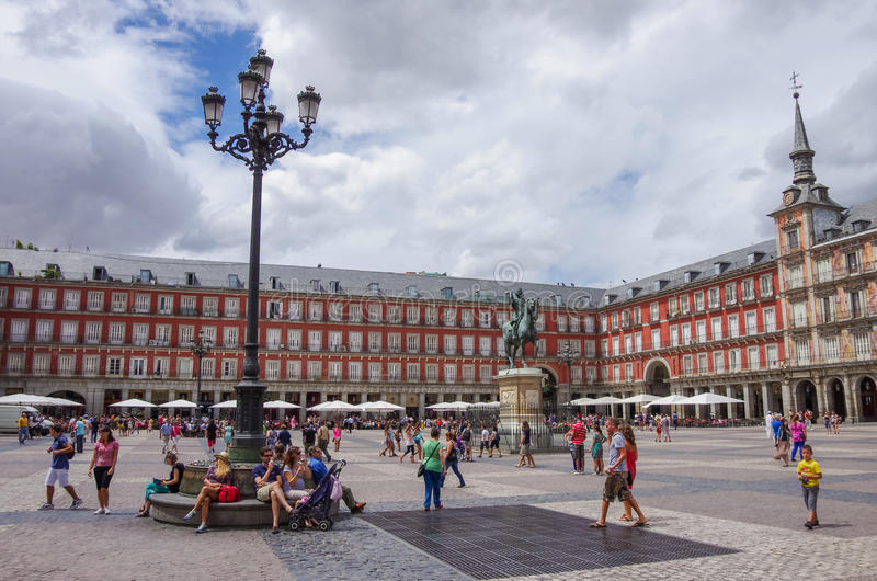 MADRID, ESPAGNE - 4 JUILLET : Statue de Philip III à la plaza de maire en M images stock