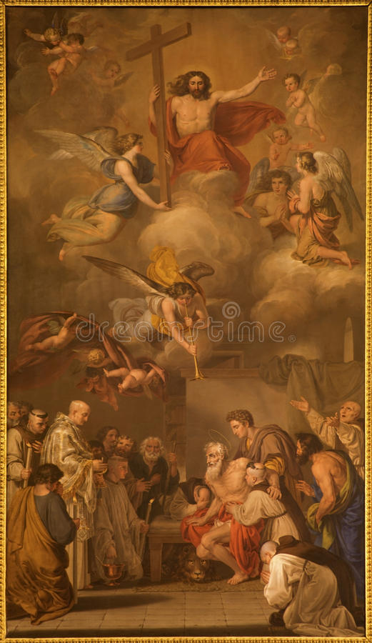 Madrid - Farbe auf Hauptaltar in der Kirche San Jeronimo el Real stockfoto