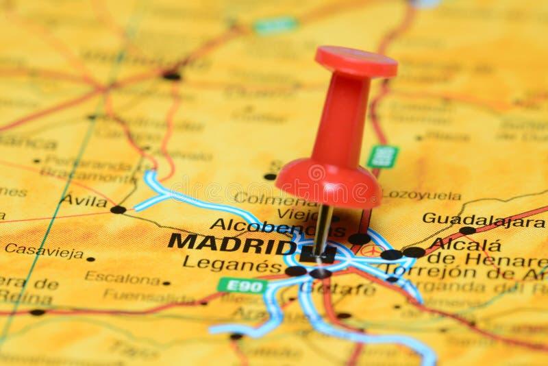 Madrid fijó en un mapa de Europa imagen de archivo libre de regalías