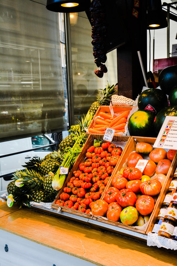 Madrid Fruit and Veg Stall royalty free stock photo