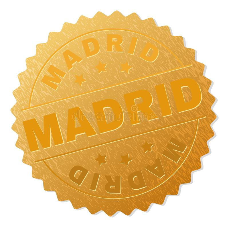 Golden MADRID Badge Stamp. MADRID gold stamp award. Vector gold medal of MADRID text. Text labels are placed between parallel lines and on circle. Golden skin stock illustration