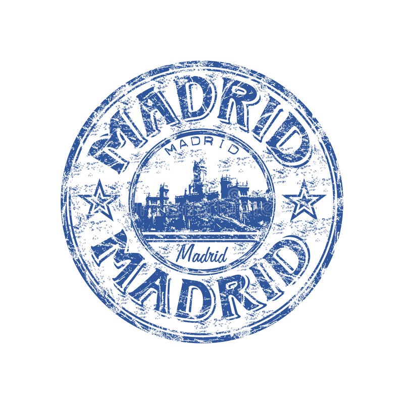 Madrid grunge rubber stamp royalty free illustration