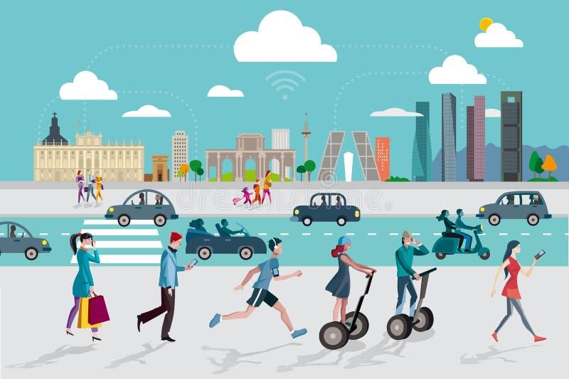 Madrid horisont och folk med smarta telefoner vektor illustrationer