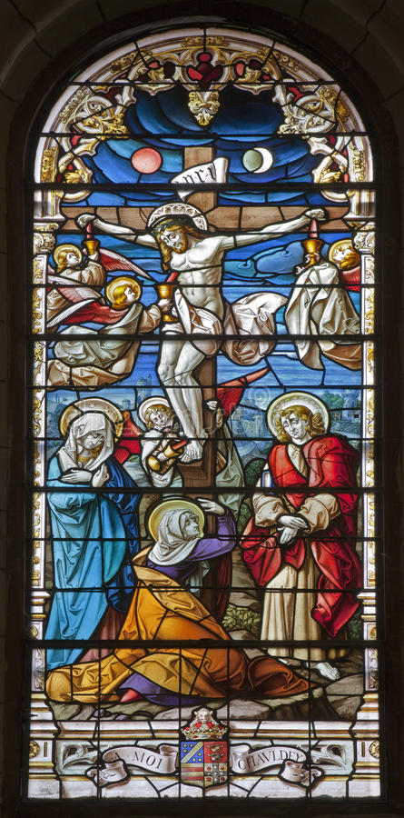 Download Madrid - Jesus On The Cross. Windowpane From Gothic Church San Jeronimo El Real Stock Image - Image of faith, windowpane: 29885015