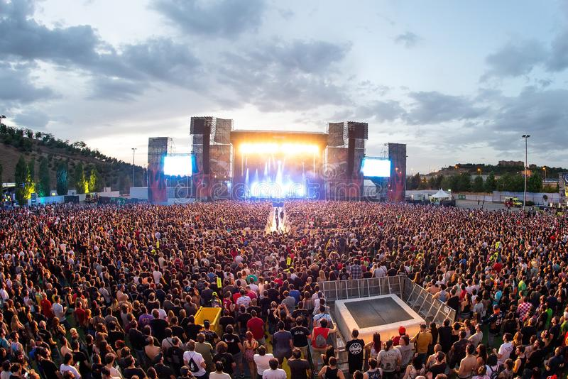 The Crowd in a concert at Download heavy metal music festival royalty free stock image