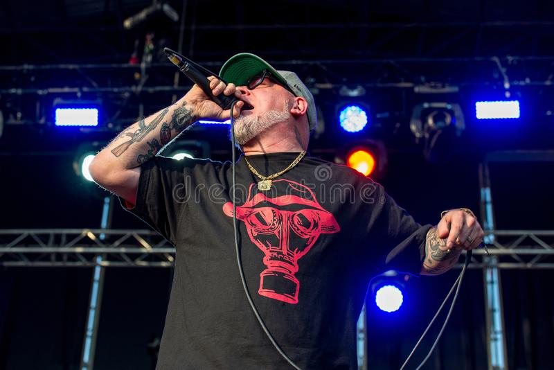 House Of Pain American hip hop group perform in concert at Download heavy metal music festival. MADRID - JUN 22: House Of Pain American hip hop group perform in stock photo