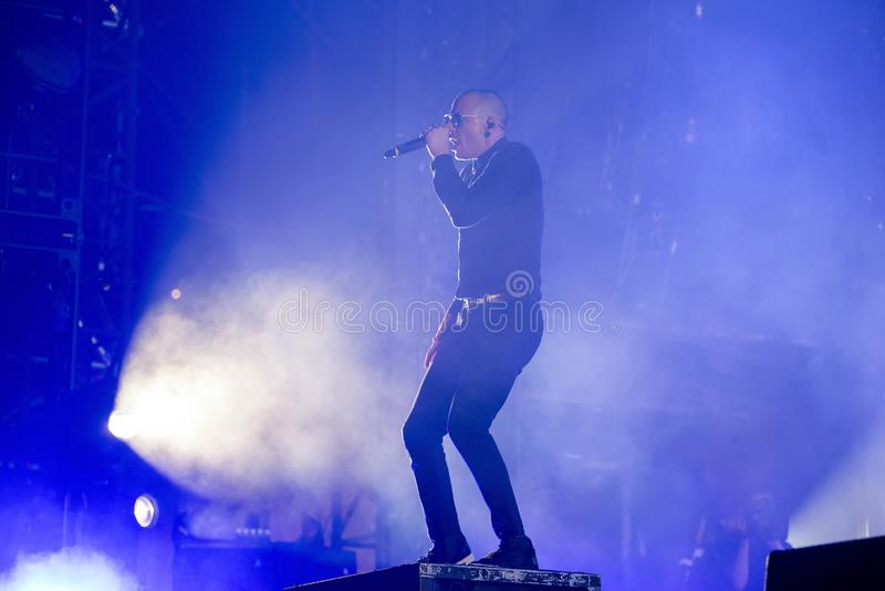Linkin Park music band perform in concert at Download heavy metal music festival. MADRID - JUN 22: Linkin Park music band perform in concert at Download heavy royalty free stock image