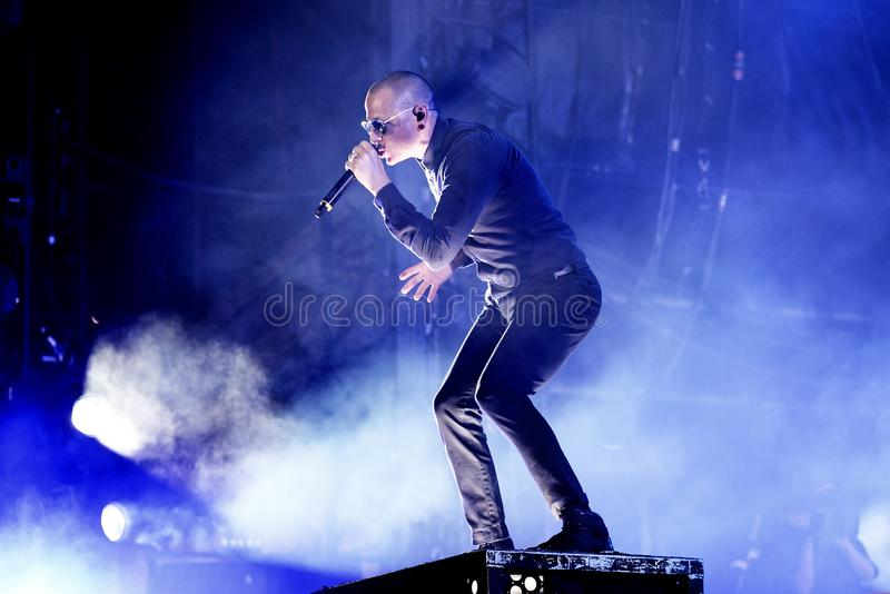 Linkin Park music band perform in concert at Download heavy metal music festival royalty free stock photo