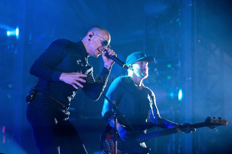 Linkin Park music band perform in concert at Download heavy metal music festival stock photos