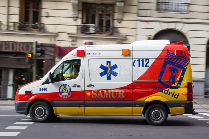Madrid-Krankenwagen lizenzfreies stockbild
