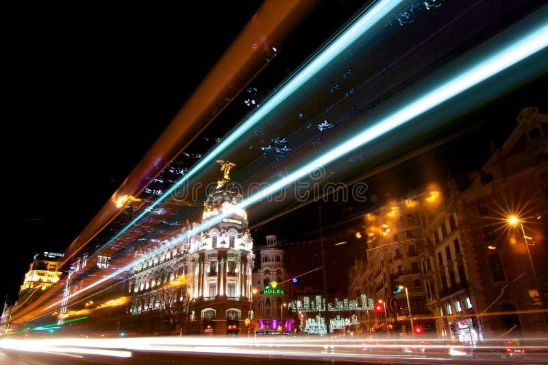 Madrid ljusnatt royaltyfri bild