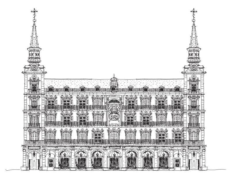 Madrid, maison de Phillip III dans le maire de plaza, croquis illustration de vecteur