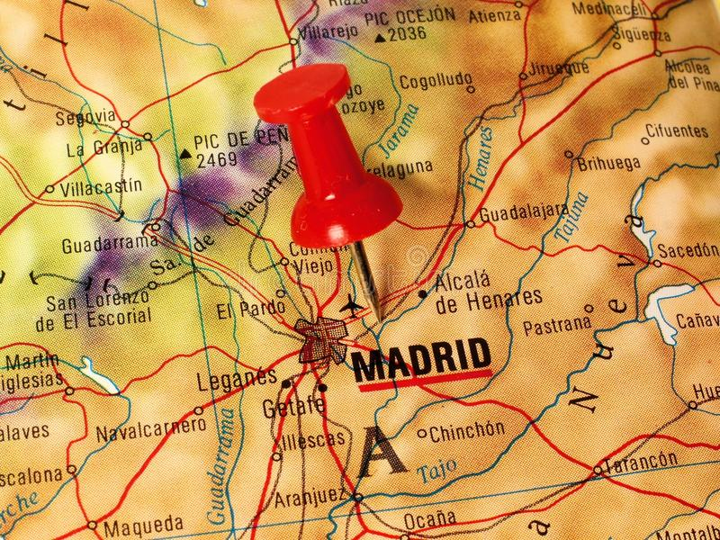 Madrid on a map. Close up of Madrid Spain on a map with red pin royalty free stock image