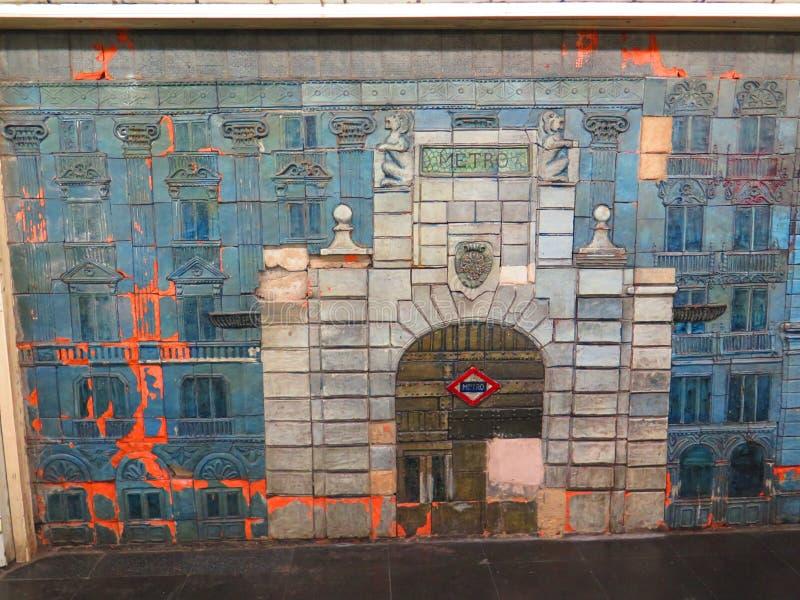 Madrid Metro Mural stock images