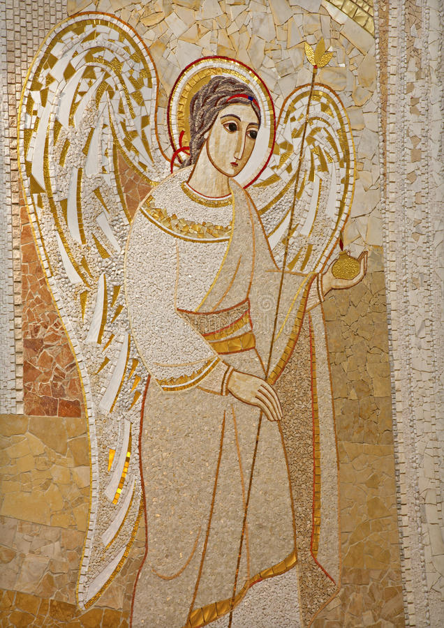 Madrid - Modern mosaic of angel from Capilla del Santisimo in Almudena cathedral. Madrid - Modern mosaic of angel by pater Rupnik from Capilla del Santisimo in royalty free stock image