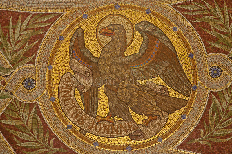 Madrid - Mosaic of eagle as symbol of Saint John the Evangelist royalty free stock images