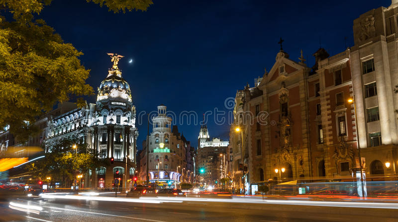 Download Madrid by night stock photo. Image of traffic, europe - 26824780